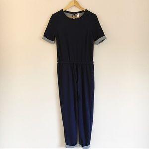Old Navy Blue Knit Short Sleeve Jumpsuit